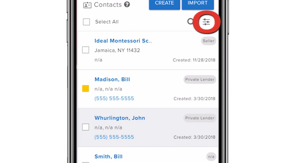 Contacts Filter Mobile